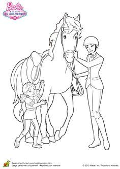 Barbie caressant son cheval et sa petite sœur, à colorier