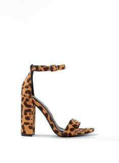 183679db09d1 Brown HONEY Barely There Leopard Print Heeled Sandals - Sandals - Shoes