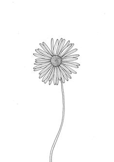 Daisy Flower Printable, Black and White Print, Simple Botanical Print, Minimal Floral Art Print, Wed Daisy Flower Drawing, Sunflower Drawing, Flower Pens, Floral Drawing, Flower Wall, Daisy Art, White Daisy Tattoo, Art Floral, Black And White Art Drawing