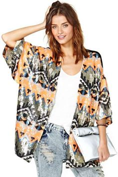 Tribal Sequin Kimono with orange, peach, black, silver, and other complimenting colors.     // Pinned on @benitathediva, DIY fashion inspiration.