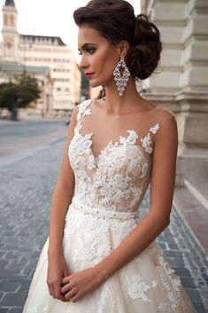 Milla Nova 2016 Bridal wedding dresses / www.deerpearlflow… Milla Nova 2016 Brautkleider / www. Bridal Wedding Dresses, Dream Wedding Dresses, Champagne Lace Wedding Dress, Mila Nova Wedding Dress, Wedding Venues, Wedding Lace, Backless Wedding, Wedding Garter, Wedding Ideas