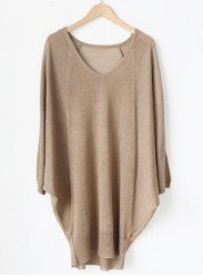 Simple Style V-Neck Solid Color Knited Loose-Fitting Long Sleeve Women's Sweater