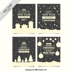 Pack of beautiful christmas cards in retro style Free Vector