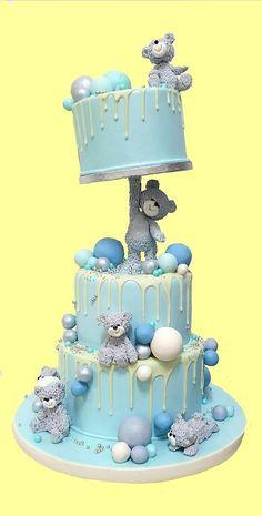 Baby Boy Birthday Cake, Beautiful Birthday Cakes, First Birthday Cakes, Baby Boy Cakes, Anti Gravity Cake, Gravity Defying Cake, Gateau Baby Shower Garcon, Teddy Bear Cakes, Cute Cakes