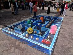 Pinterest: @icristy13  Awesome pac-man 3D street art in Norway