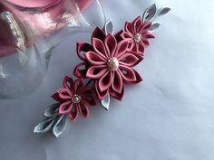 Hair Clip Burgundy Maroon Dark Pink Silver by LihiniCreations