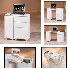 Multi-Function Computer Desk in High Gloss White