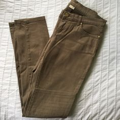 MK Olive Jeans Stretch skinny jeans with knee patch. Dark olive green, Michael Kors. Worn maybe twice if that. Just like new. Michael Kors Jeans Skinny
