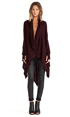 Nicholas K Serius Sweater in Burgundy @ Revolve.  Love this sweater with leather skinny pants