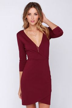 LuLu*s Exclusive! With just a little help from the Lean Into It Burgundy Dress, you'll have a million dollar look in your own signature style! The V neckline and darted wrap bodice give this dress a flattering silhouette, helped along by the medium-weight stretch knit. An elastic waist tops the bodycon skirt below, which ends with an overlapping hem. Hidden back zipper. Unlined. 65% Rayon, 30% Nylon, 5% Spandex. Hand Wash Cold, Or Dry Clean. Made With Love in the U.S.A.