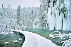 Plitvice Lakes in the Winter - Bing Images Beautiful World, Beautiful Places, Beautiful Scenery, Plitvice Lakes National Park, Thousand Islands, Central Europe, Fantasy Landscape, Trees To Plant, Les Oeuvres