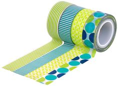 Amazon.com: HIART Repositionable Washi Tape, Dots and Stripe Mother Nature, Green Blue, Set of 4