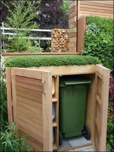 Garden Design Ideas : A wheely bin store with a green roof? How about having a wildflower mix on top instead? Front Gardens, Outdoor Gardens, Outdoor Landscaping, Landscaping Ideas, Outdoor Projects, Garden Projects, Diy Projects, Dream Garden, Home And Garden