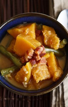 Squash and Green Beans, cooked in coconut milk. Another Filipino favorite.