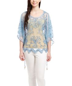 Another great find on #zulily! Blue Embroidered Silk-Blend Cape-Sleeve Top - Women #zulilyfinds