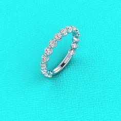 14K White gold single prong U shaped Diamond band by Masterjeweler, $1599.00