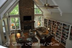 Look at those book cases and the tranquil feel of this room.  Chocolate Froth from Behr is the color. Beautiful!  ~Trish