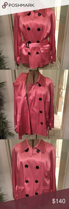 INC metallic pink short trench coat Eye catching short length metallic trench coat by INC. this fun, flirty piece features a double breasted front with a trench belt, pockets, and banded wrists. Stop wearing dark, boring coats during the winter! This sleek pink jacket will add a bit of summer to any look this winter! And it's not just for cold seasons! Wear this piece with love and it'll love you back! ONLY WORN A HANDFUL OF TIMES. Upturned pocket from the way it was stored. Should fall back…