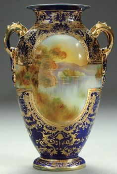 Nippon__ PORCELAIN cobalt & scenic vase circa 1910 with hand-painted autumnal countryside scene. Antique Bottles, Vintage Bottles, Vintage Perfume, Antique Glass, Deco Paint, Porcelain Ceramics, Porcelain Jewelry, Ceramic Pottery, Ceramic Art