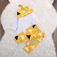 4403d0ead2c Unisex Toddler Infant Newborn Girl Boy Baby Bear Romper Pants 3pcs Outfits  Set03 Months Yellow