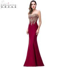 e59f1890ef Sexy Backless Aplikacje Burgundy Syrenka Koronki Balu Długie Suknie Royal  Blue Czarny Wieczór Party Dress Vestido de Festa Longo