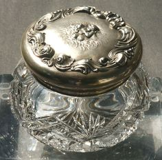 Art Nouveau sterling silver dresser powder jar