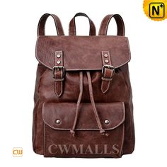 Vintage Leather Travel Backpack CW253363 Classics leather travel backpack made of distressed genuine cowhide leather, leather women's backpack designed in front snap pocket, double buckle leather strap closure, and leather drawstring inside closure. www.cwmalls.com PayPal Available (Price: $197.89) Email:sales@cwmalls.com