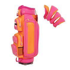 Isaac Mizrahi Sport Ladies Golf Cart Bags w/Matching Headcovers – Hamptons (Pink & Tangerine Text) Lori's Golf Shoppe