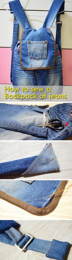 How to sew a pretty nice bag with denim. Step to step tutorial how to make pretty bag from jeans. Denim Bag Tutorial, Mochila Jeans, Reuse Clothes, Denim Backpack, Jean Purses, Latest Bags, Denim Crafts, Recycled Denim, Fashion Bags