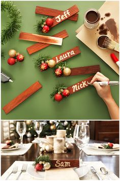 Wooden shims can go from leveling the table to decorating the table! These festive place cards are easy to make and great for welcoming holiday guests. Click here for a shopping list of everything you'll need to get crafty.