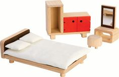 The Parents Room set consists of bed, bedspread, 2 pillows, dressing table with chair, and closet. This set is compatible with the PlanToys dollhouses. All PlanToys are eco-friendly and made from sustainable materials. Dressing Table With Chair, White Bedspreads, Cozy Furniture, Modern Platform Bed, Nursery Pictures, Parents Room, Plan Toys, Room Ideas Bedroom, Room Planning