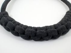 Stone gray rope necklace knotted by DisByBergdis