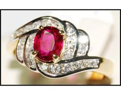 Solitaire Ruby Ring and Diamond 18K White Gold by BKGjewels
