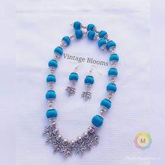 Silk Thread Earrings Designs, Silk Thread Necklace, Silk Thread Bangles, Thread Jewellery, Fabric Jewelry, Temple Jewellery, Beaded Jewelry, Beaded Necklace, Silver Anklets