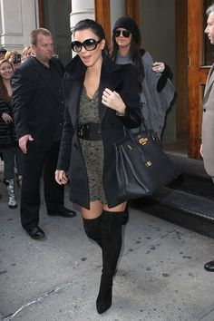 Kim Kardashian wearing Christian Louboutin Monica Over The Knee Boots Hermes So Black Birkin 35 bag Parker Double Flare Sleeve Dress in Brown Camo Tom Ford Natalia TF 120 Sunglasses Burberry OVERSIZE CAVALRY PEA COAT. Kim Kardashian takes her sister Khloe to visit the new Dash retail store in Soho October 06 2010.