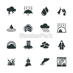Rains Season Silhouette Icons | Vector | StockerPark