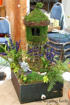 Recycle - fairy garden made in a dresser drawer
