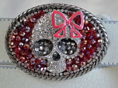 Little girl skull belt buckle with bow girls by CreativityAtPlay, $45.00