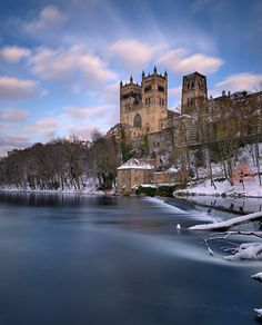 A long exposure captures the movement of passing clouds over Durham Cathedral's western towers. Durham England, North East England, England And Scotland, Chester Cathedral, Durham Cathedral, Mykonos, Santorini, Yorkshire, Durham City