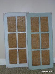 Decorative Grid Cabinet Doors With Burlap.
