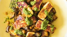 Haloumi with honeyed eggplant, drizzled with a green olive and parsley sauce.