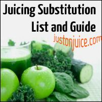 Here is a great list of juicing substitutions. Great if you don't like a certain ingredient, have a fruit of veggie allergy, or just can't find something. Great Guide! #justonjuice #juicing #greenjuice ( http://www.justonjuice.com/juicing-substitution-list/ )