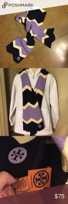 Tory Burch Scarf Very nice scarf color cream, lavender, and navy blue perfect for this weather. Tory Burch Accessories Scarves & Wraps