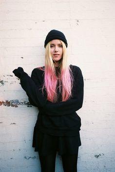 beanie + pink hair