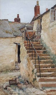 """""""Newlyn Staircase"""" Oil Painting by Walter Langley English Painter & Founder of the Newlyn School of Plein Air Artists . Watercolor Architecture, Watercolor Landscape, Watercolour Painting, Landscape Paintings, Watercolours, Guache, A Level Art, City Landscape, Urban Sketching"""