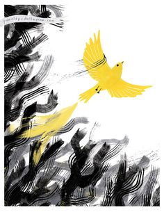Inspired by the idea of the bright yellow bird being a beacon of hope and light in dark mines. This brave bird is spreading its wings and escaping all that is dark and holding it back – depression, anxiety, fear… it soars and overcomes! Illustration by Penelope Dullaghan