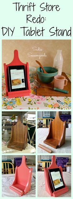 DIY tablet stand from thrift store wooden shelf and salvaged wood trim by Sadie Seasongoods / www.sadieseasongoods.com
