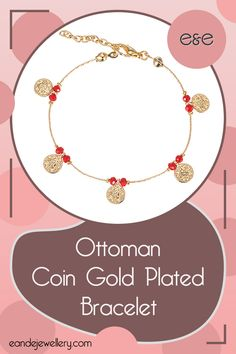 "Ottoman Coin Gold Plated Bracelet: The gold plated detailed Ottoman Coins are wrapped around two colourful beads, bound together by a delicate yet dense chain. Its hypoallergenic make and serene design elevate it to ""everyday wear"" status in an instant! Gold Plated Bracelets, Gold Plated Necklace, Bridesmaid Bracelet, Bridesmaid Gifts, Handmade Bracelets, Crystal Beads, Friendship Bracelets, Jewelry Collection, Ottoman"