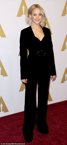 Jennifer Lawrence takes the plunge in smart pantsuit at Academy Awards luncheon | Daily Mail Online