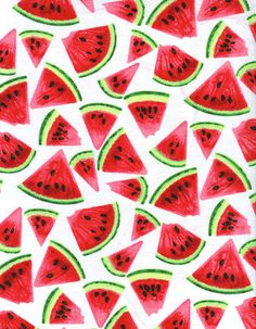 Watermelon Fabric on White Slices Seeds Picnic by AllegroFabrics, $10.00